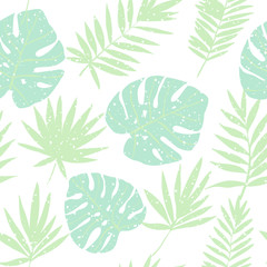 Green tropical leaves. Vector seamless pattern