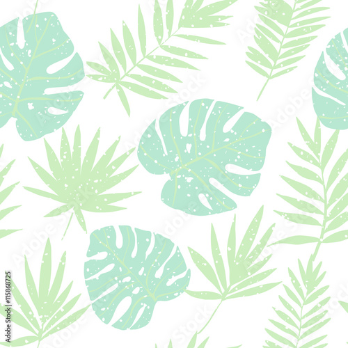 Materiał do szycia Green tropical leaves. Vector seamless pattern