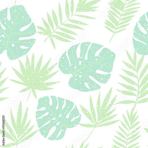 Materiał do szycia Zielony tropikalne liście. Wektor wzór