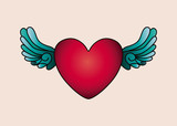 heart and wings tattoo isolated icon design, vector illustration  graphic