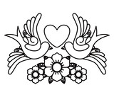 heart and birds tattoo isolated icon design, vector illustration  graphic