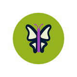 stylish icon in color circle botanic butterfly
