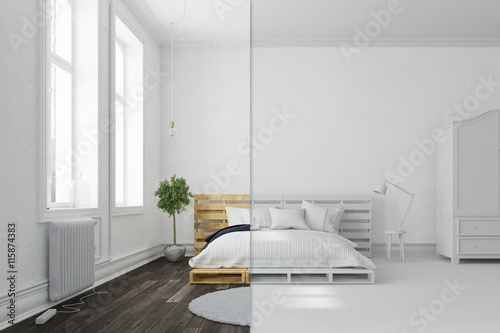 fotomural schlafzimmer mit palettenbett in wei und bunt ref 115874383. Black Bedroom Furniture Sets. Home Design Ideas