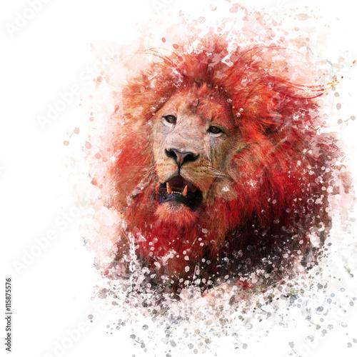 Aquarelle Lion Head Poster