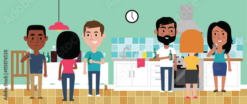 Zdjęcia na płótnie, fototapety, obrazy : Illustration Of Friends Having Party In Kitchen At Home