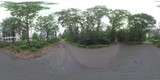 360 VR video. Paved paths leading three ways among the green trees along the street with modern buildings in Frankfurt, Germany. Real sound included