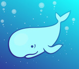 whale, cartoon cachalot in the sea, vector illustration