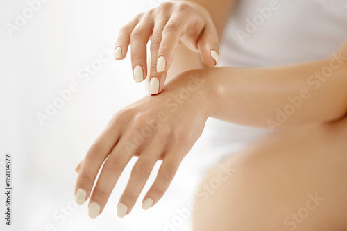 Hand Skin Care. Closeup Of Beautiful Woman Hands With Manicure