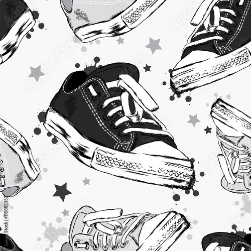 Fototapeta Seamless background with sneakers, blots and stars. Vector illustration for greeting card, poster, or print on clothes. Fashion & Style.