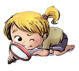 niña mirando con lupa