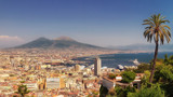 Naples, panorama of the Bay of Naples, the port and in the backg