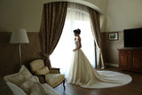 gorgeous bride in luxurious wedding dress