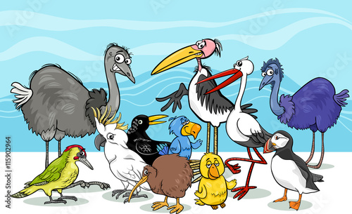 fototapeta na ścianę birds group cartoon illustration