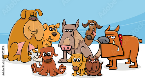 Fototapeta dogs group cartoon