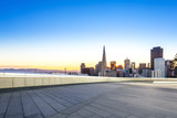 empty floor with cityscape and skyline of san francisco at sunri
