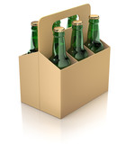 Six green bottles of beer in carton packaging on white reflective background