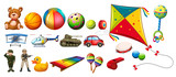 Set of many colorful toys