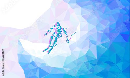 Fototapeta Giant Slalom Ski Racer silhouette. Vector illustration