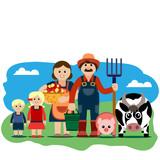 Vector illustration of farm family.