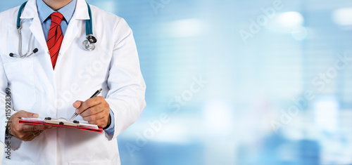 obraz lub plakat Doctor Writing Prescription - Clinic Blurred Background