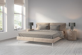 Fototapety Contemporary tobacco brown bedroom with wood floor
