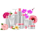 Vector Cosmetic Packaging with Flowers