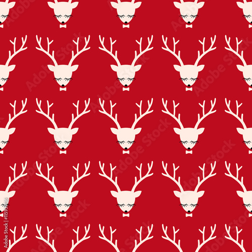 Aluminium Hipster Hert Xmas deer head silhouette seamless pattern. Cute deer with bow background for Christmas holidays. Xmas deer Illustration. Animal head texture. Design for textile, wallpaper, web, fabric, decor etc.