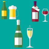 Коллаж набор сет алкоголь, вино шампанское пиво