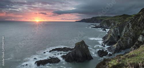 Keuken foto achterwand Grijs Sunrise over Bull Point landscape in Devon England