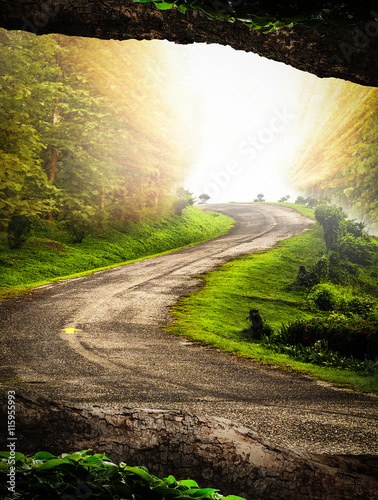 fototapeta na ścianę The road winds up into the hills with the morning sun