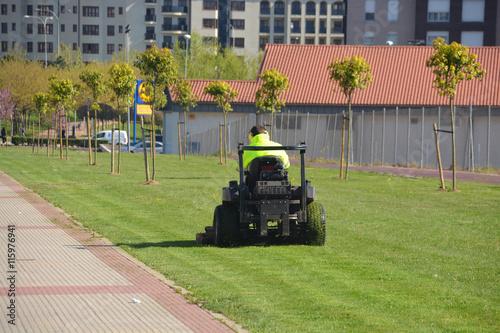 Poster jardinero cortando la hierba de un jardín público