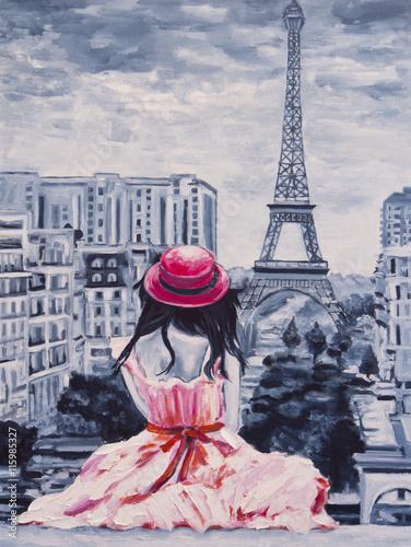 obraz-olejny-na-plotnie-obraz-romantyczna-dama-w-paryzu