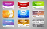 Set polygonal gift cards