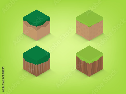 isometric earth with green background