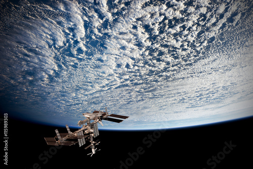 Fotobehang Nasa Satellite planet Earth ocean international meteorology telecommunication outer space station iss. Elements of this image furnished by NASA.