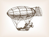 Fototapety Steampunk mechanical flying airship sketch vector