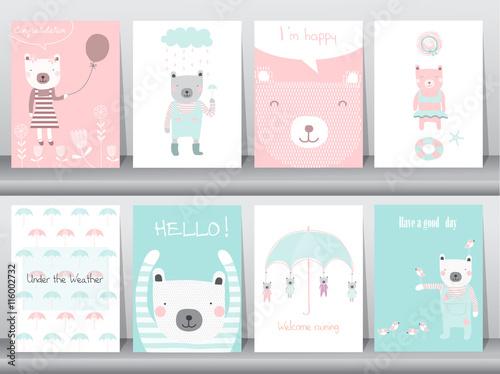 Fototapeta Set of cute animals poster,template,cards,bear,Vector illustrations