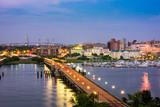 Charleston, South Carolina, USA skyline over the river.