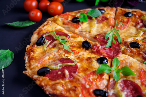 Homemade pizza with salami, black olives and basil. Poster