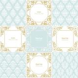 Elegant frames and damask seamless pattern set. Templates for wedding design.