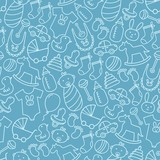 Fototapety Baby shower doodle seamless pattern. Blue background