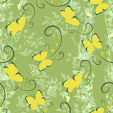 Yellow butterflies on a green background with flowers. Vector seamless pattern. Summer meadow. Summer design.