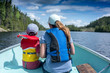 contryside ontario canada nature mother and child on a boat