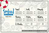 seafood restaurant placemat menu design vector template with hand drawn graphic