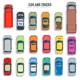 Fototapety Cars and trucks top view flat vector icons. Set of car and sedan car for transportation illustration