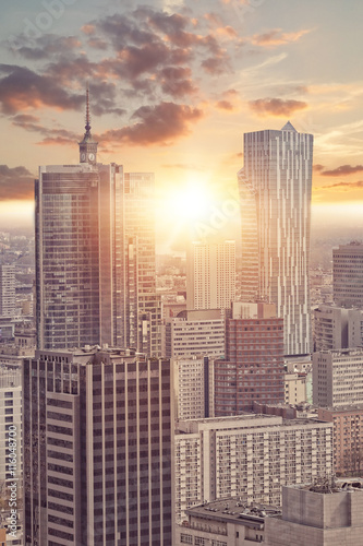 Fototapeta View of skyscrapers in Warsaw