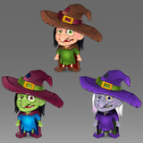 Illustration of Halloween witch set