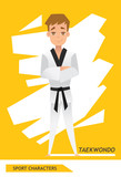 Sport characters taekwondo player vector design