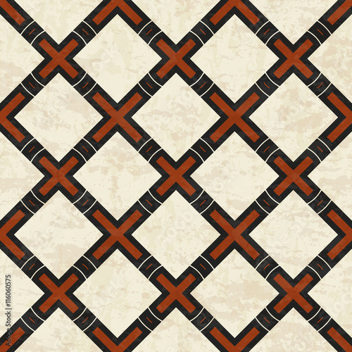 Fotobehang Stof Abstract marbled geometric Greek cross pattern, seamless vector illustration with texture