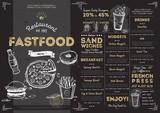Fototapety Restaurant fast food cafe menu template flyer vintage design vector illustration